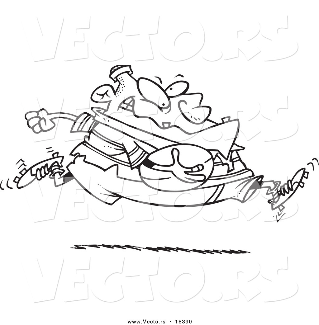Vector of a Cartoon Fat Rugby Football Player Running - Outlined ...