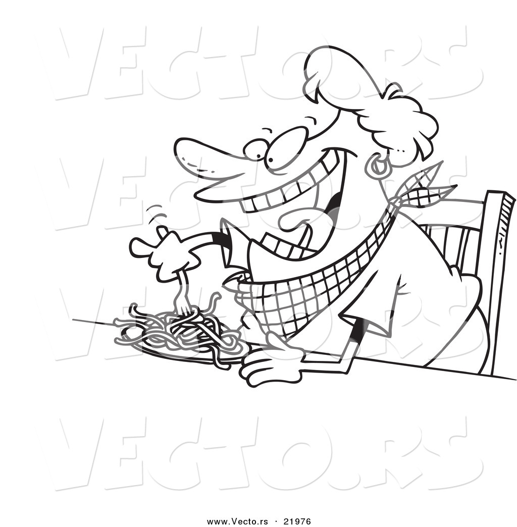 Vector of a Cartoon Fat Woman Eating Spaghetti - Outlined Coloring ...
