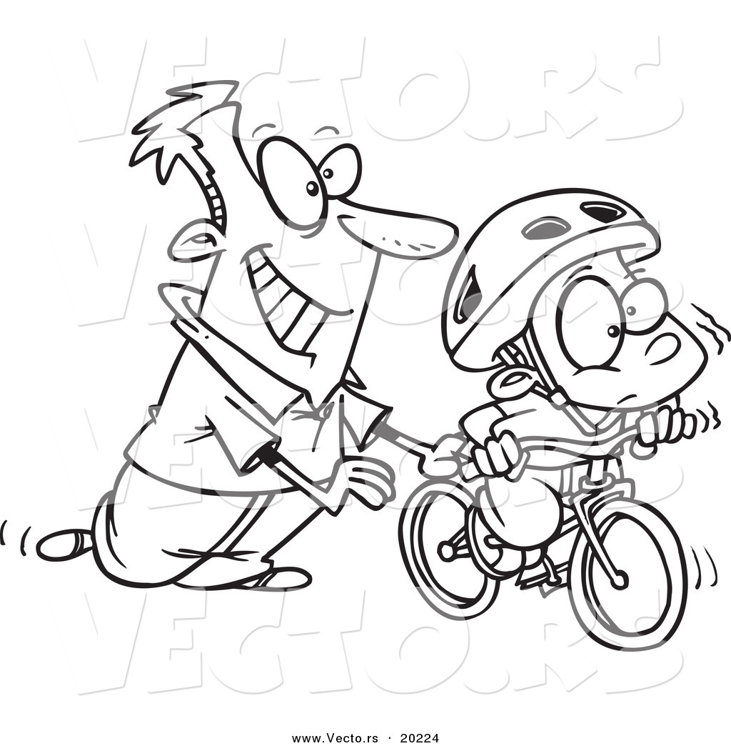 Boy To Ride A Bike Outlined Coloring Page By Ron Leishman 20224