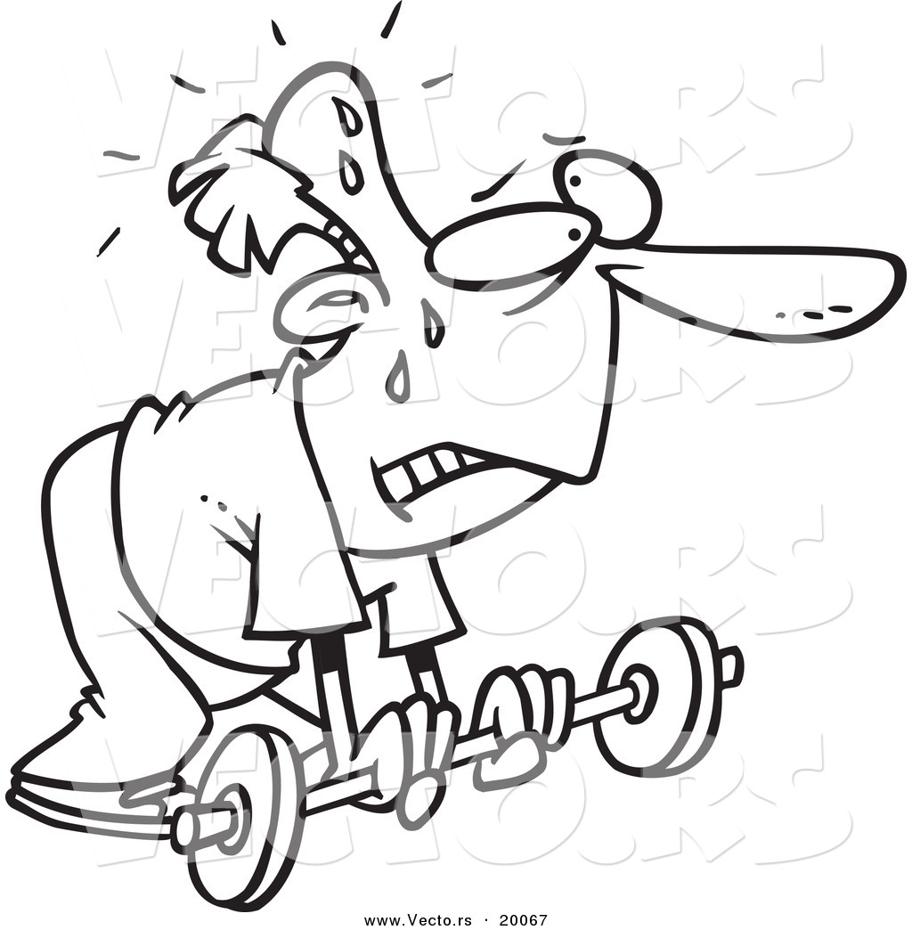 vector of a cartoon feeble man lifting a barbell outlined