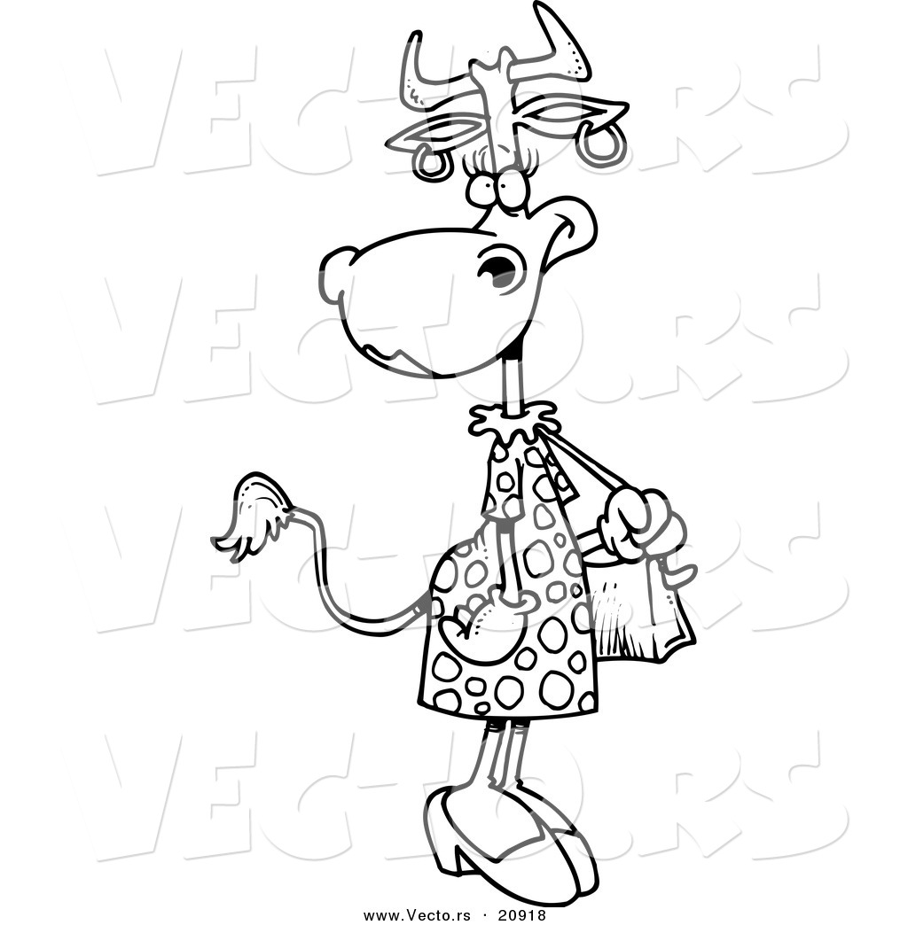 Vector of a Cartoon Female Cow Carrying a Purse  Coloring Page