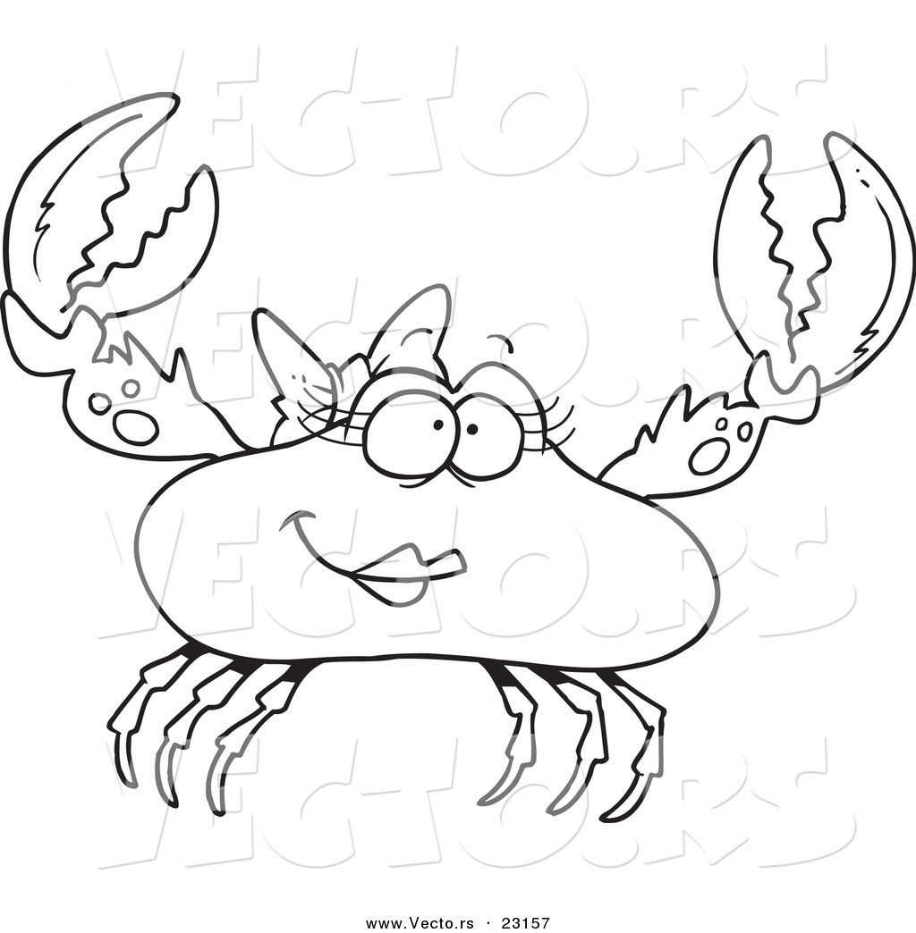 Vector of a Cartoon Female Crab - Coloring Page Outline by toonaday ...