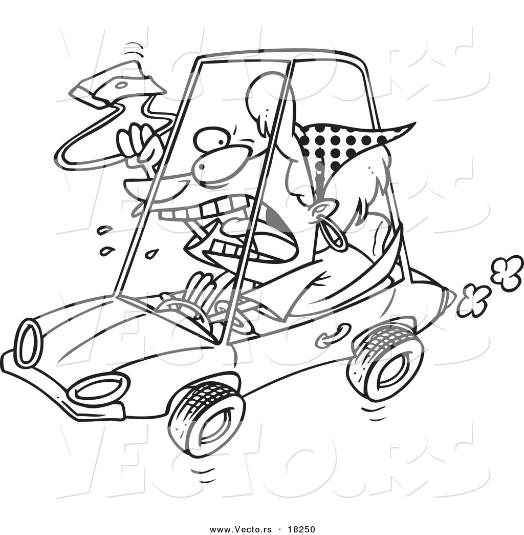 vector of a cartoon female driver with road rage outlined
