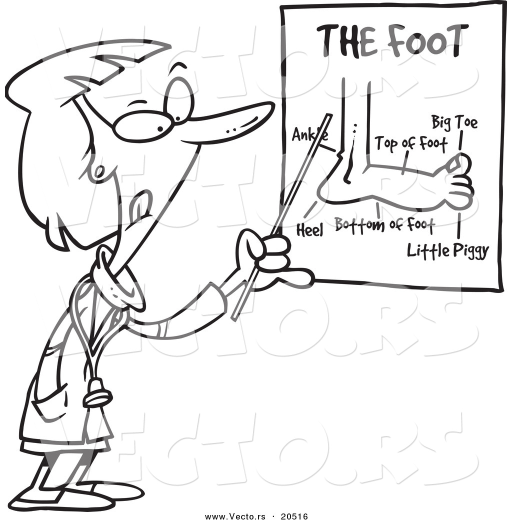 Coloring pages for doctors day - Vector Of A Cartoon Female Foot Doctor Pointing At A Chart Coloring Page Outline