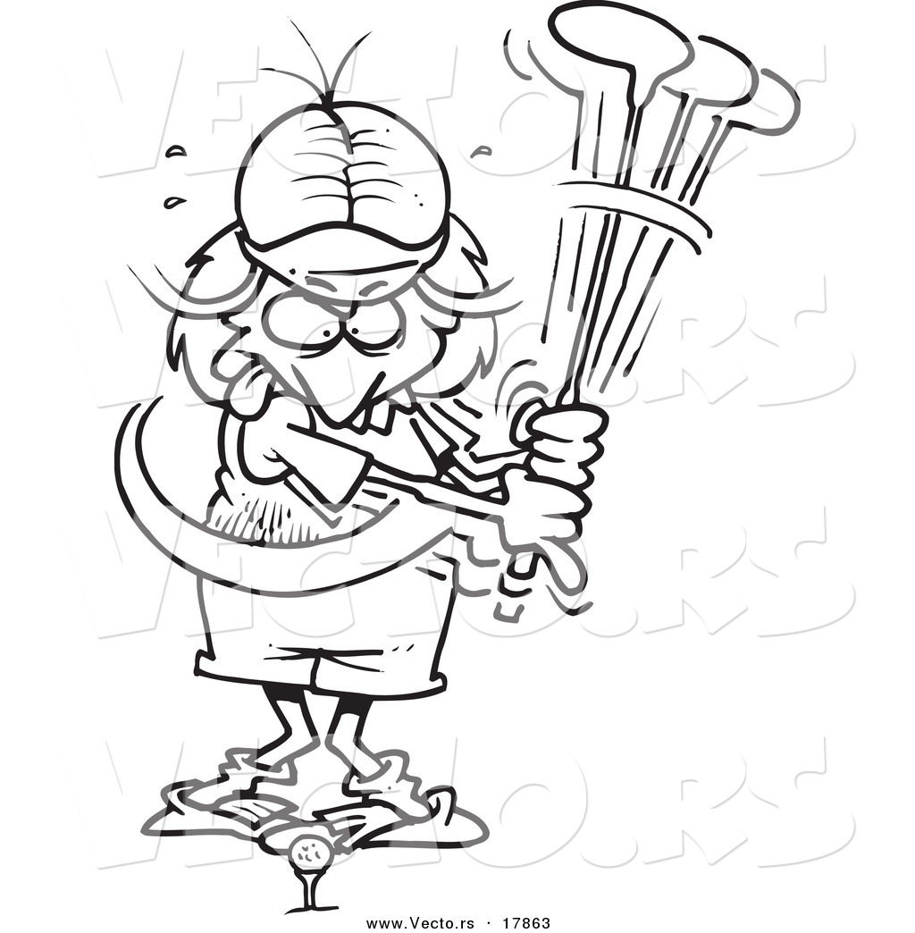 vector of a cartoon female golfer missing outlined coloring page
