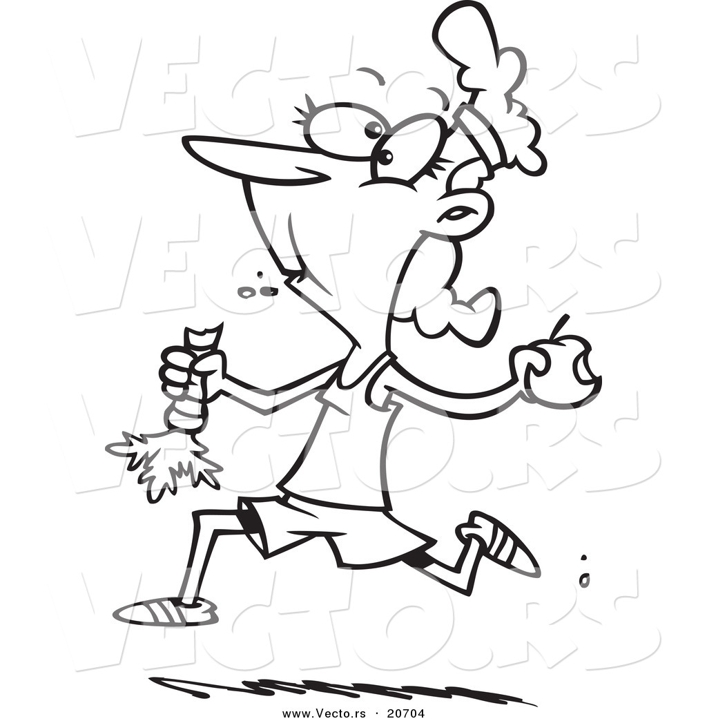 vector of a cartoon female jogger eating her fruits and veggies