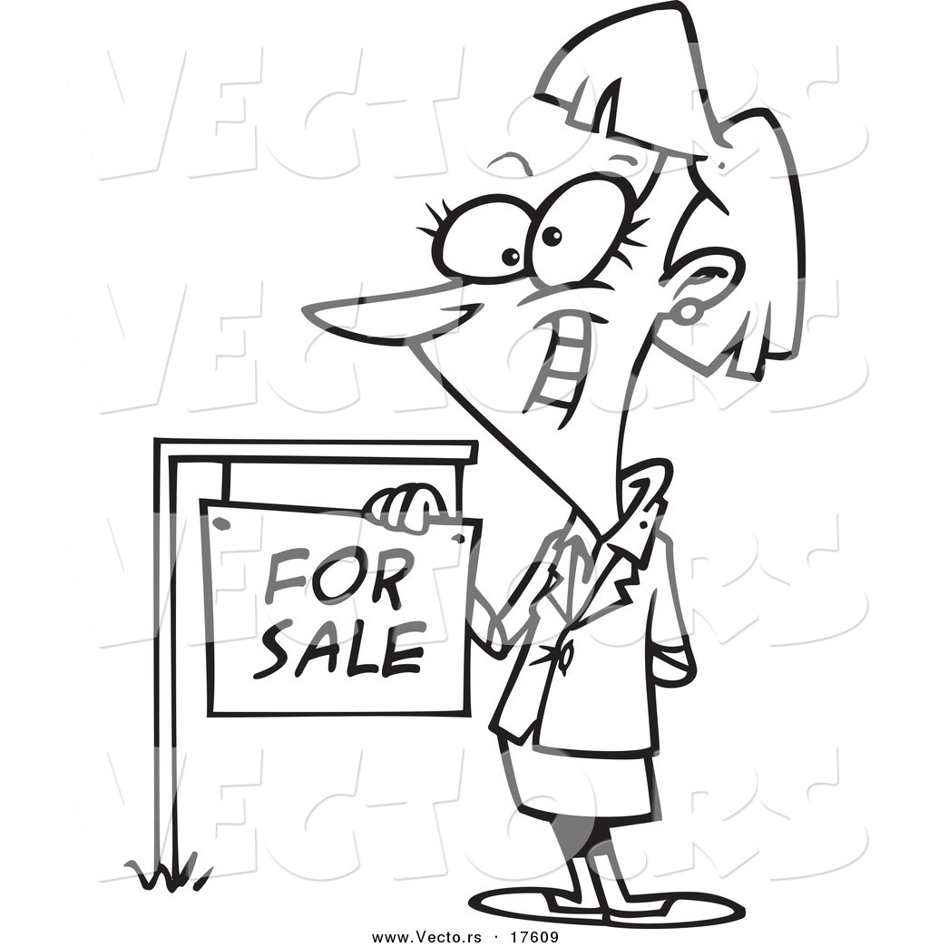 vector of a cartoon female realtor by a for sale sign coloring