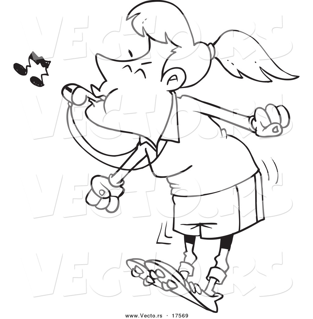 Vector Of A Cartoon Female Referee Blowing Whistle