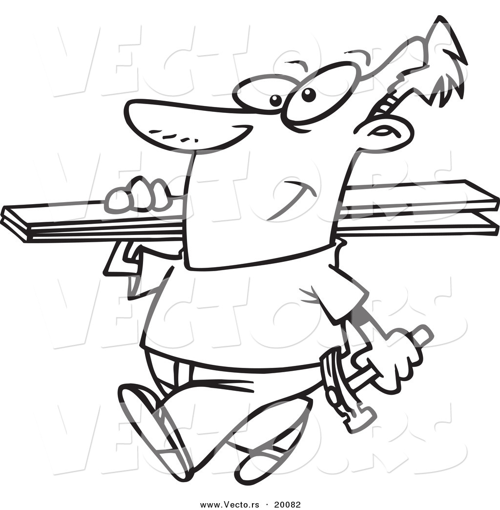 vector of a cartoon fencer carrying planks outlined coloring