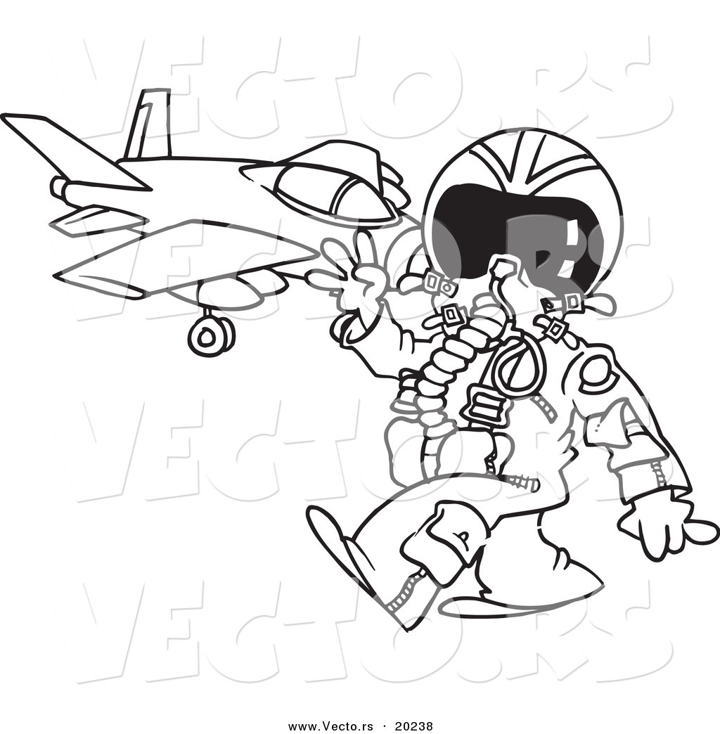 Vector Of A Cartoon Fighter Pilot Near His Jet