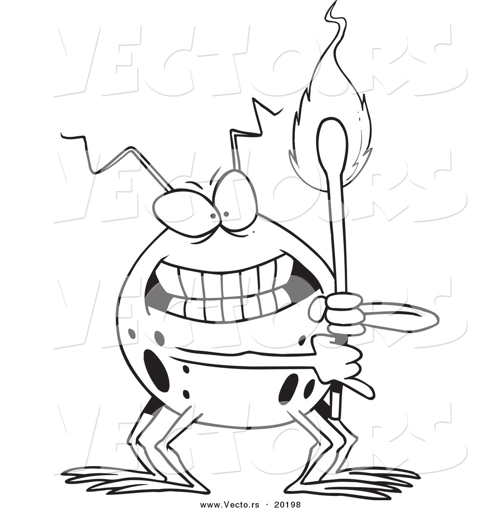 vector of a cartoon fire bug holding a match outlined coloring