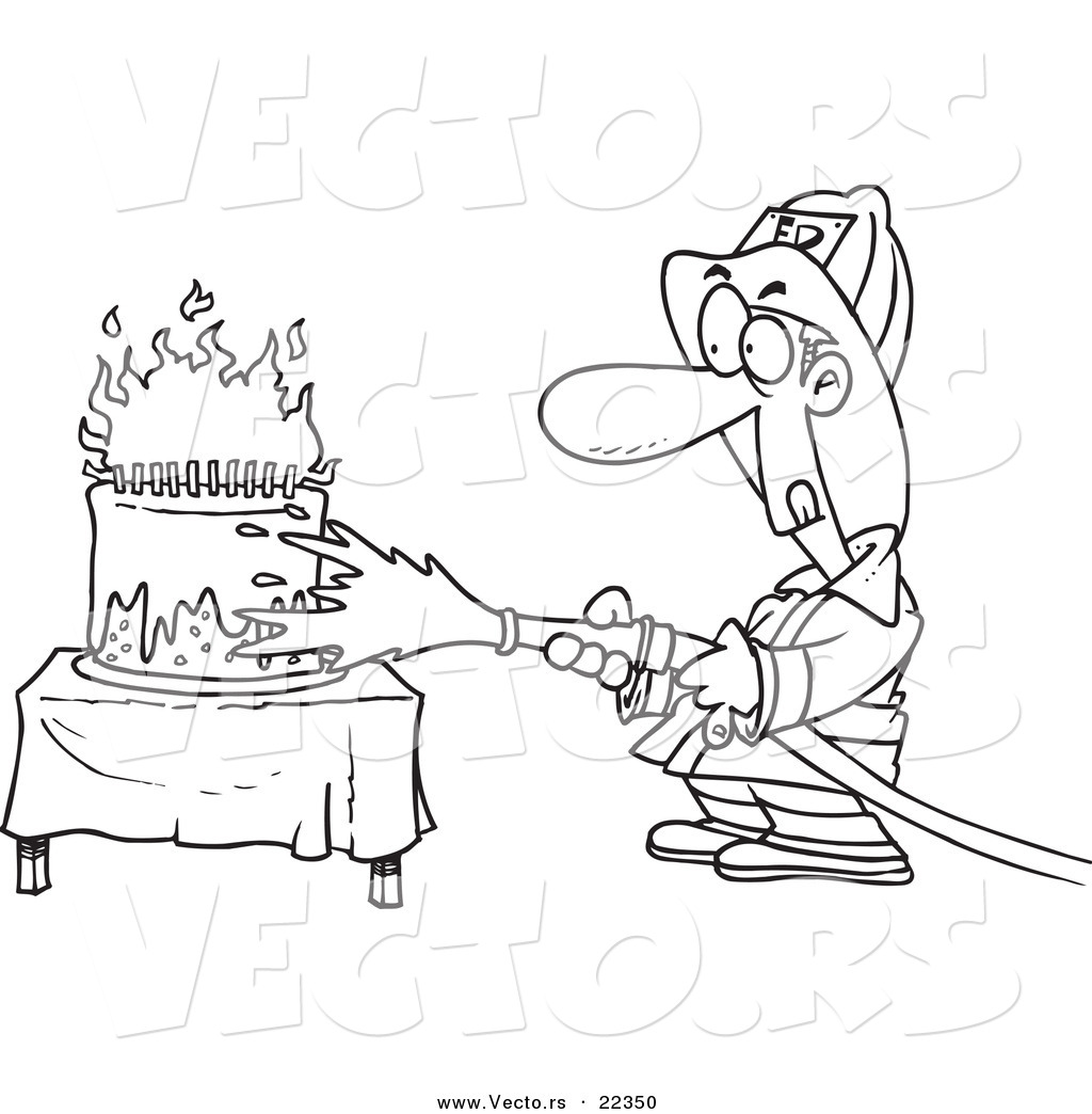 vector of a cartoon fireman extinguishing a birthday cake