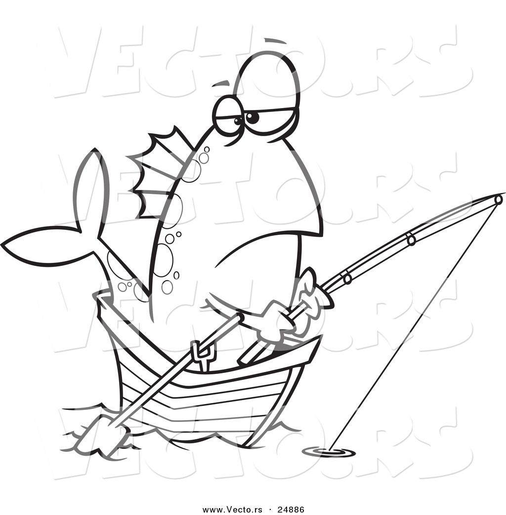 vector of a cartoon fish fishing from a boat outlined coloring page