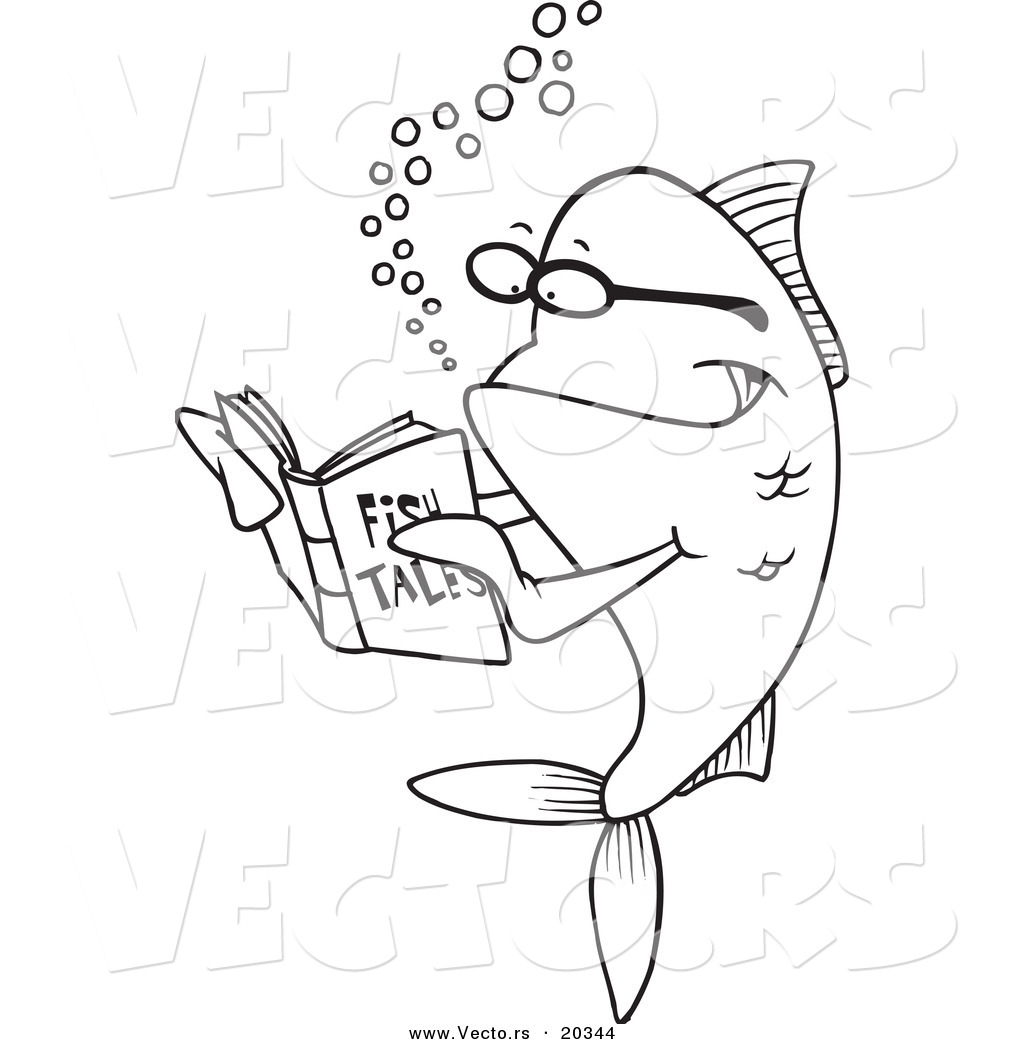 vector of a cartoon fish reading a story book coloring page