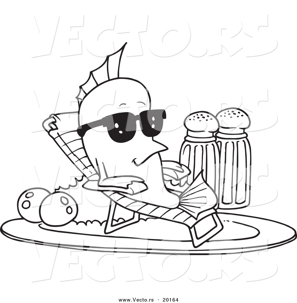 Vector of a Cartoon Fish Relaxing on a Plate - Outlined Coloring Page