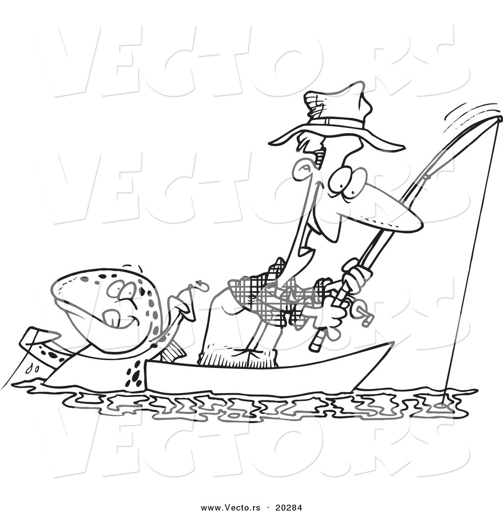 vector of a cartoon fish tugging on a man u0027s line coloring page