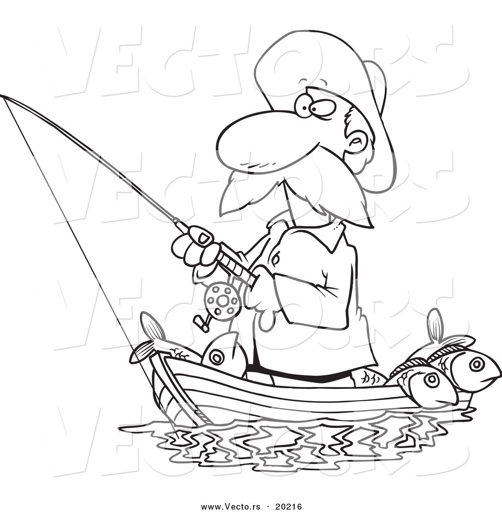 Vector of a Cartoon Fisherman Standing in His Boat Outlined