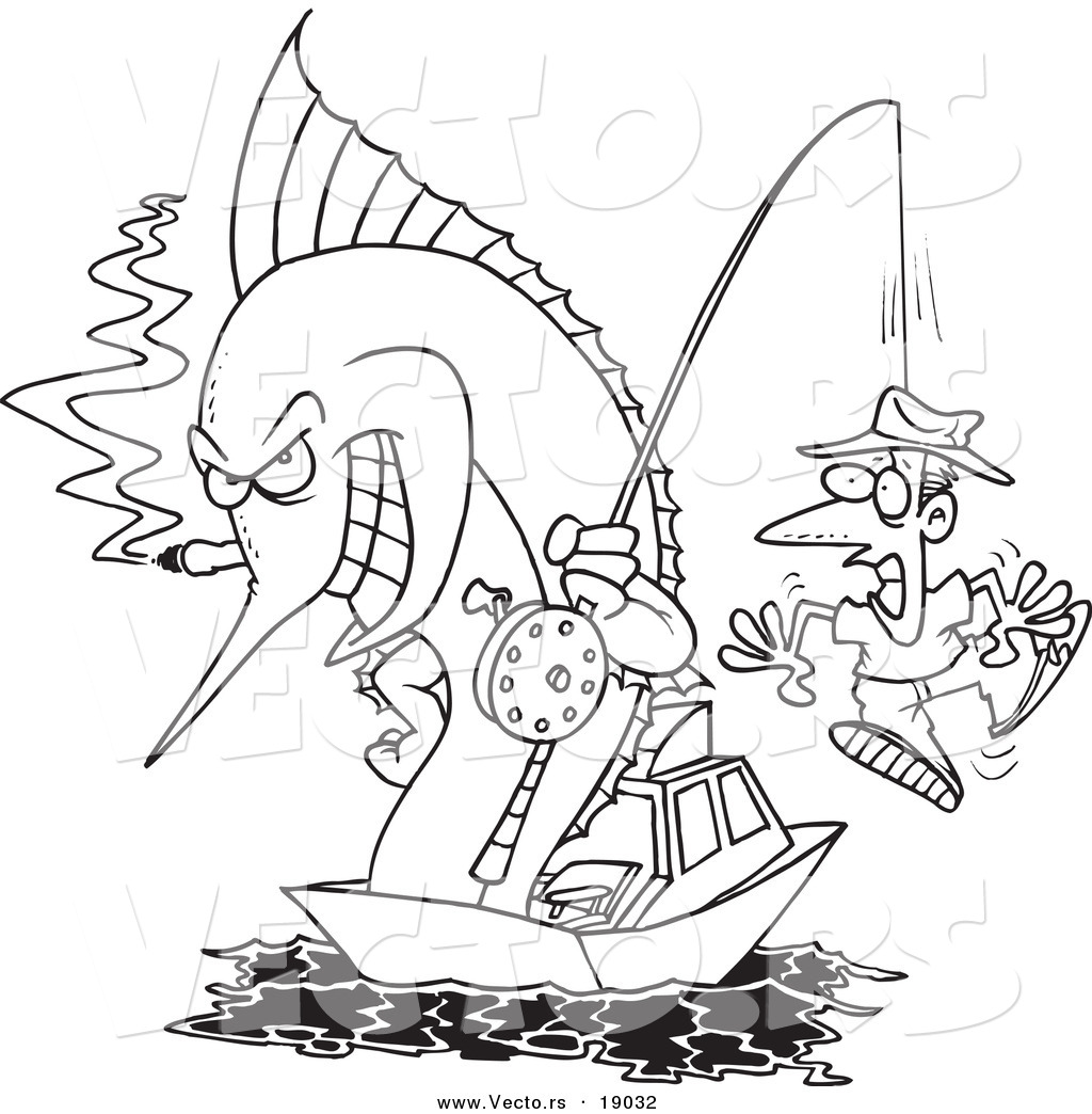 Vector of a Cartoon Fishing Marlin with a Man on a Hook Outlined