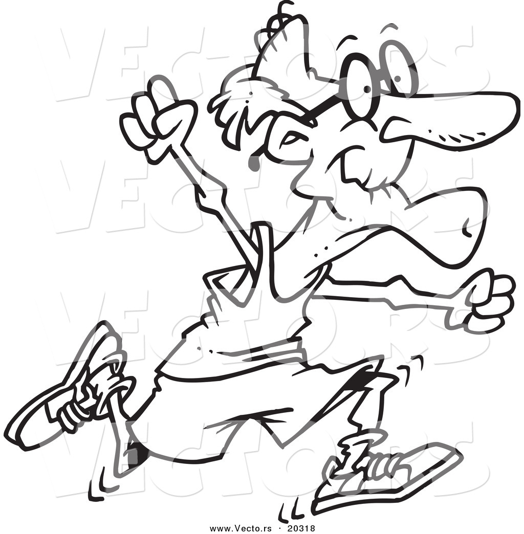 vector of a cartoon fit senior man running coloring page outline