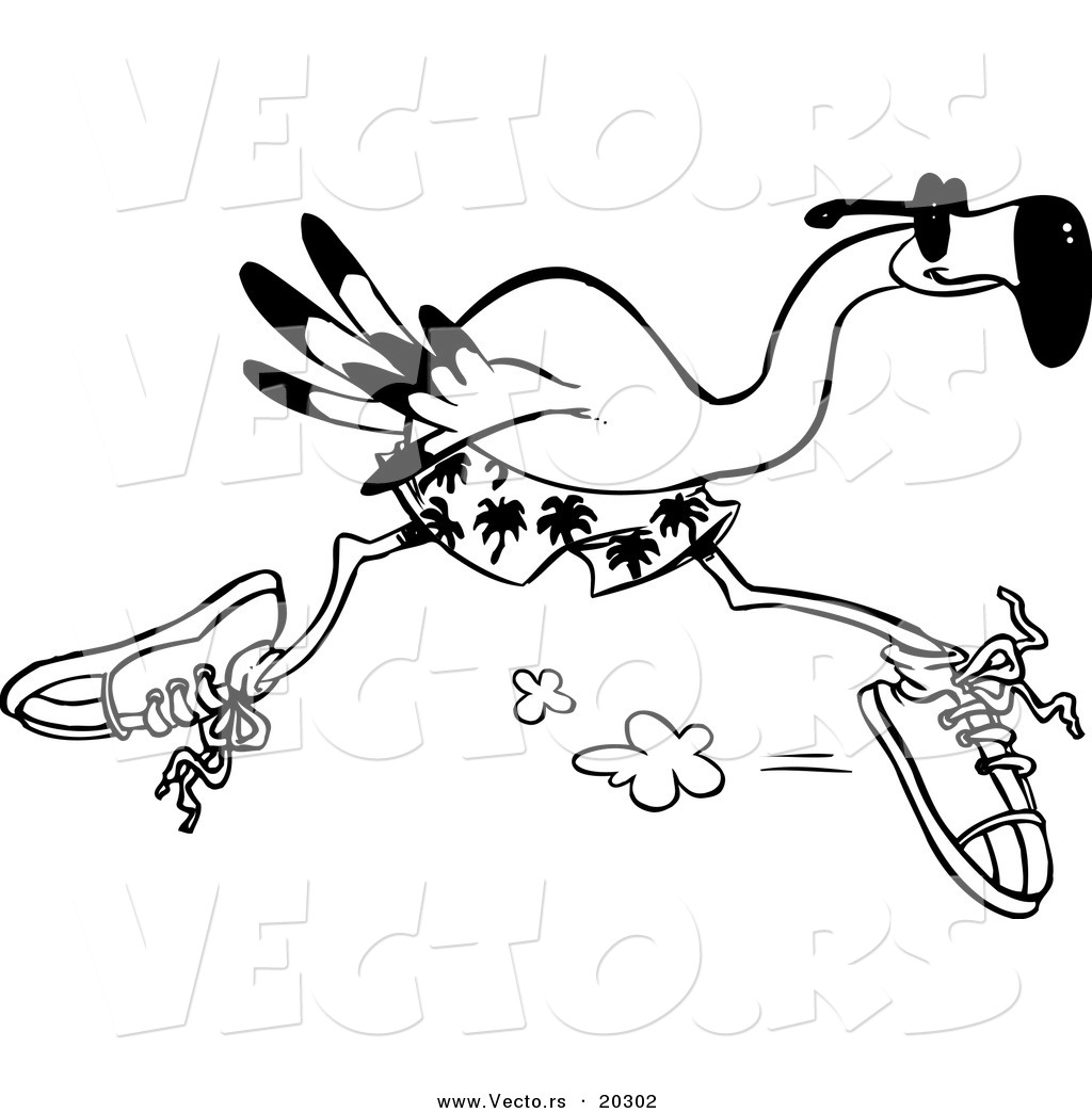 vector of a cartoon flamingo running coloring page outline by