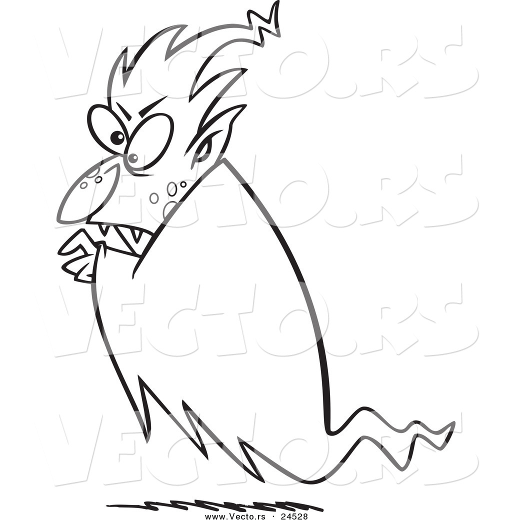 vector of a cartoon floating vampire outlined coloring page by
