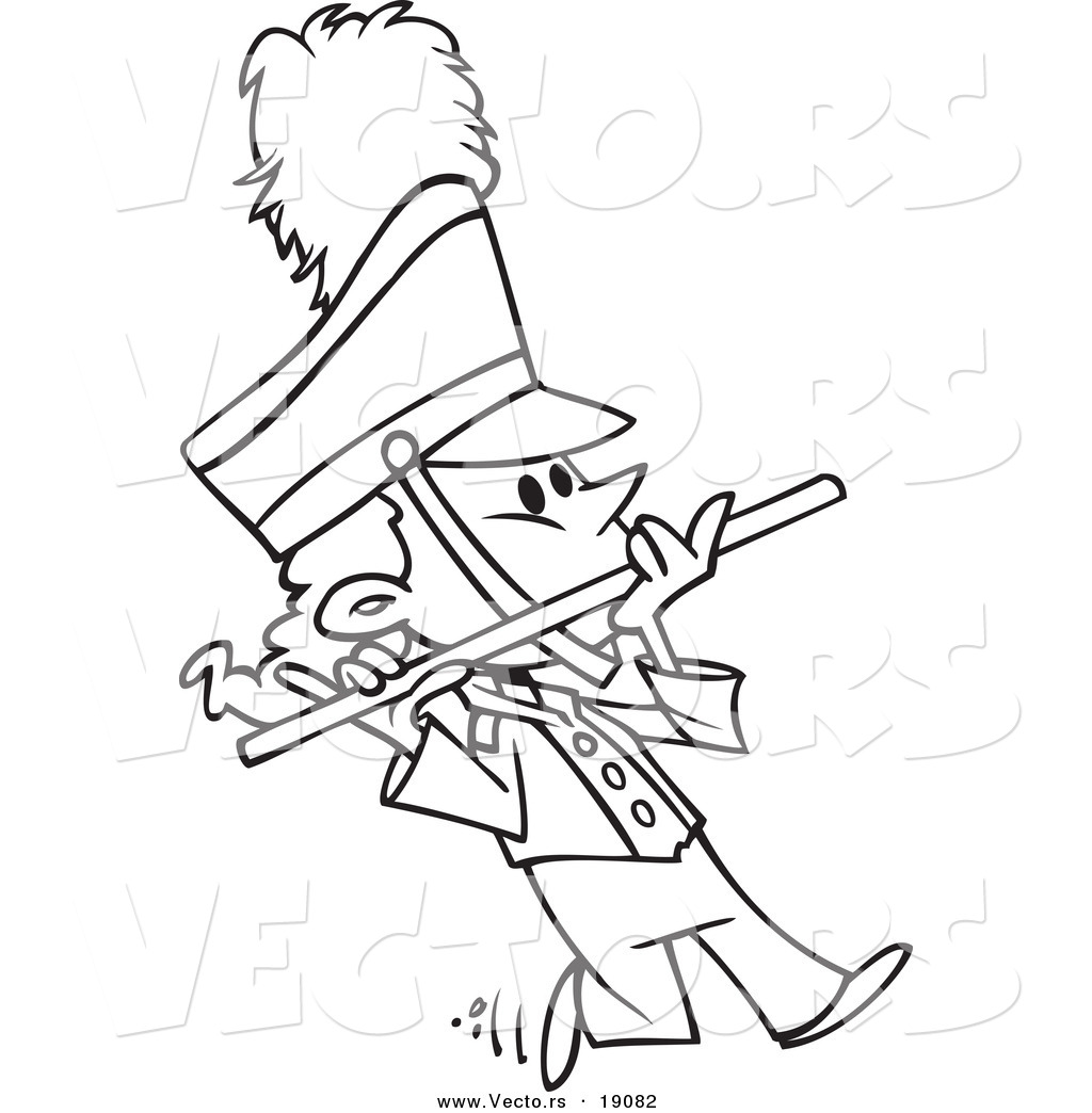 Vector of a Cartoon Flutist in a Marching Band - Outlined Coloring Page