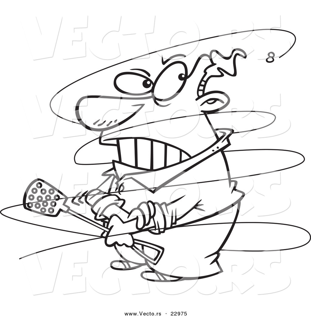vector of a cartoon fly annoying a guy coloring page outline by