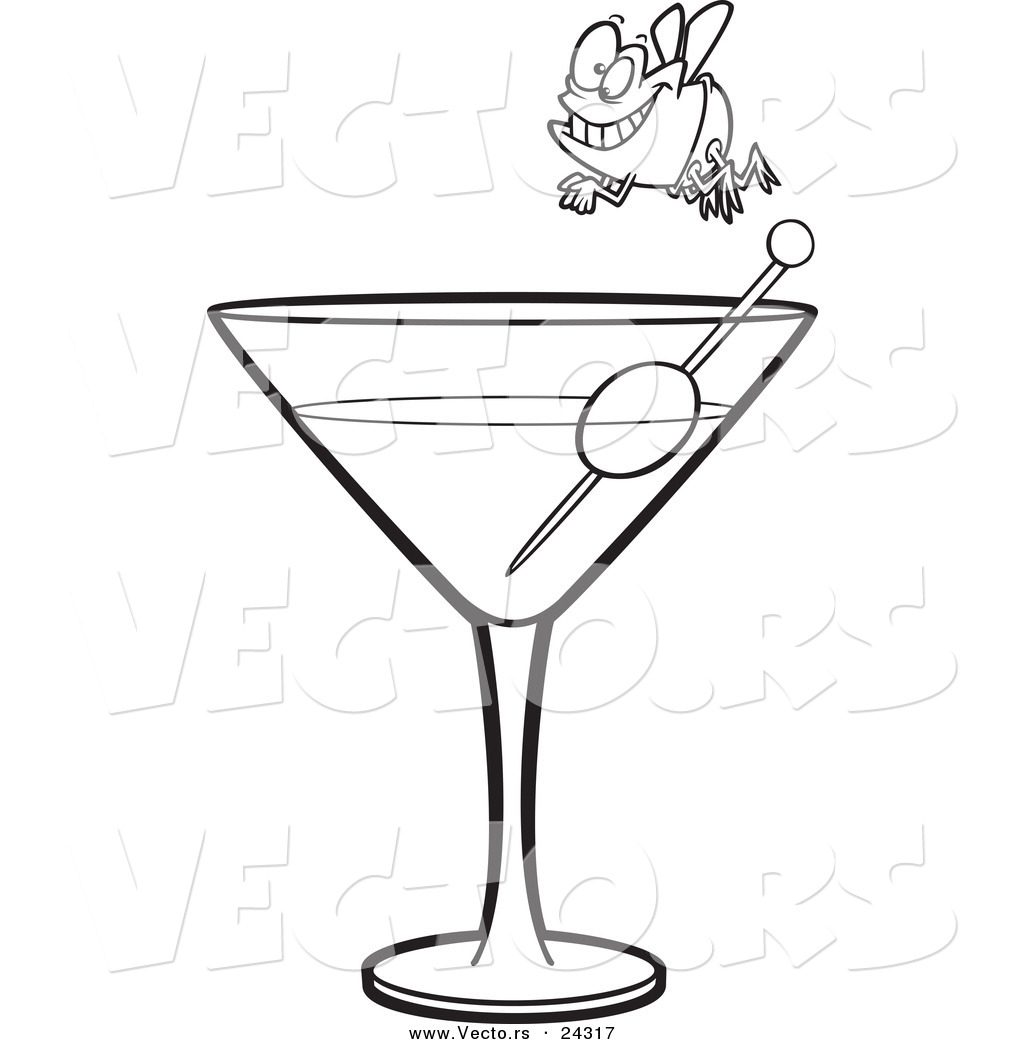 vector of a cartoon fly diver over a martini black and white