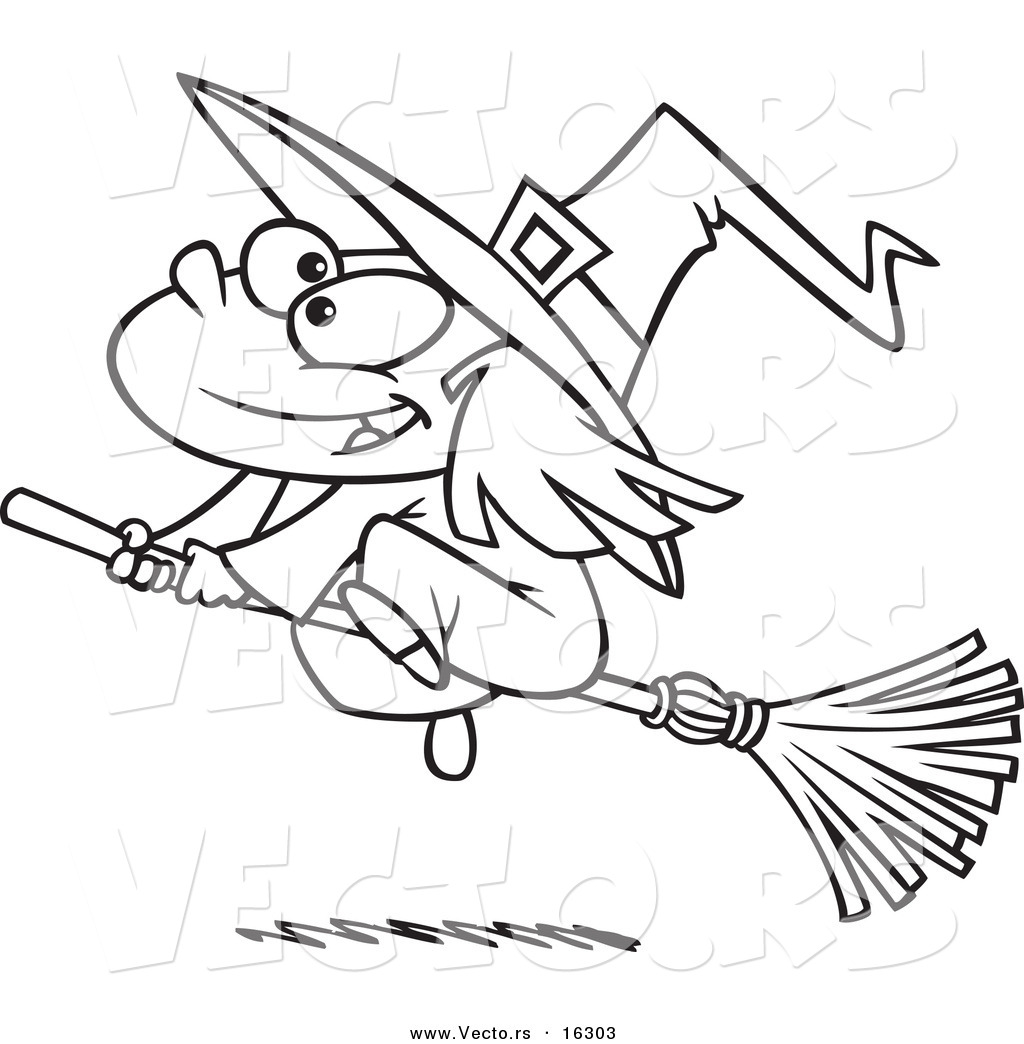 vector of a cartoon flying girl witch