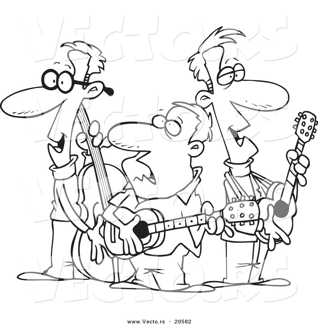 Vector of a cartoon folk music band coloring page for Band coloring pages