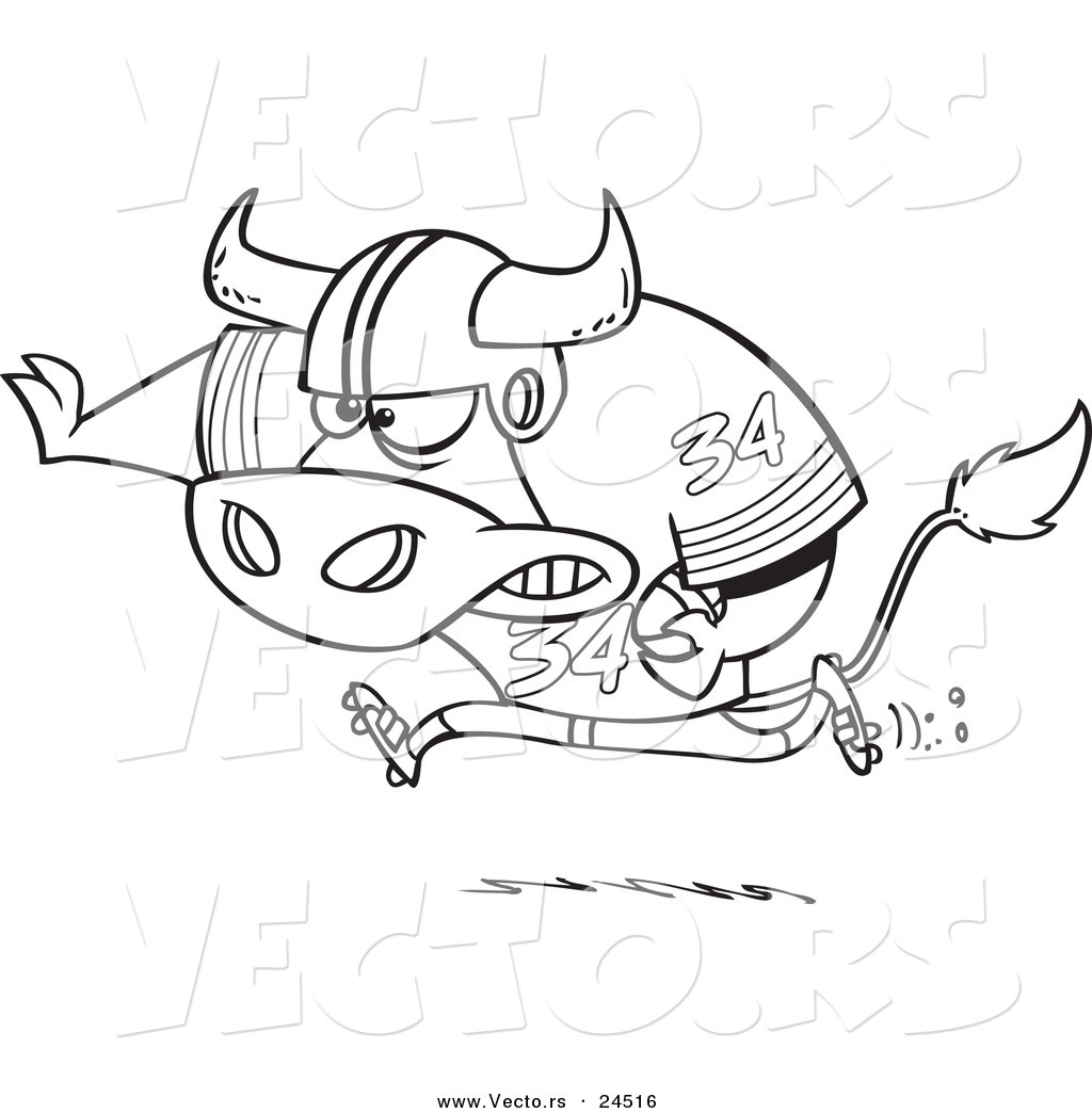 Vector of a Cartoon Football Bull Running - Outlined Coloring Page ...