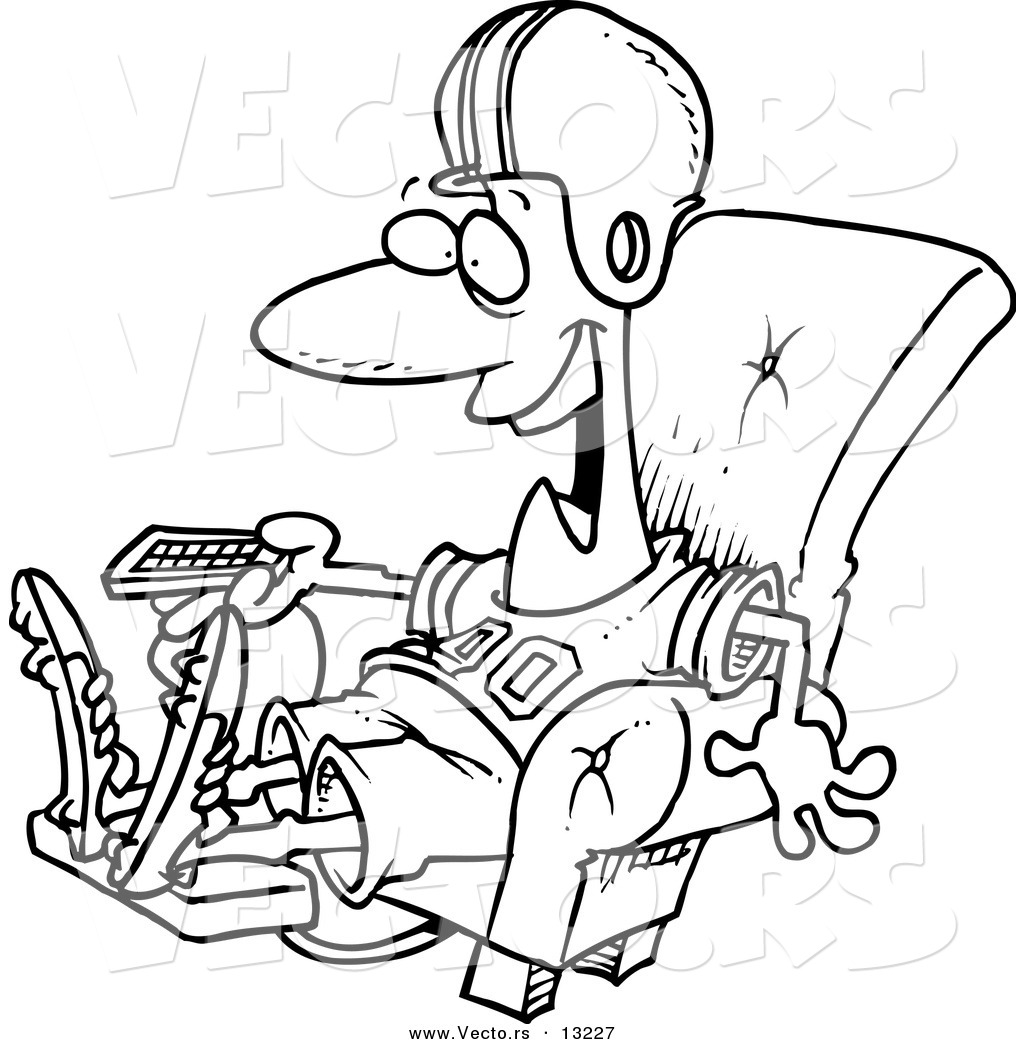 Black and white chair drawing - Vector Of A Cartoon Football Fan Watching Tv In An Arm Chair Coloring Page Outline By