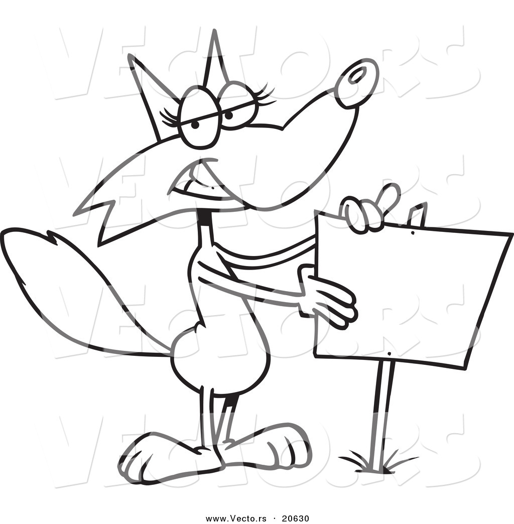 vector of a cartoon fox presenting a blank sign coloring page