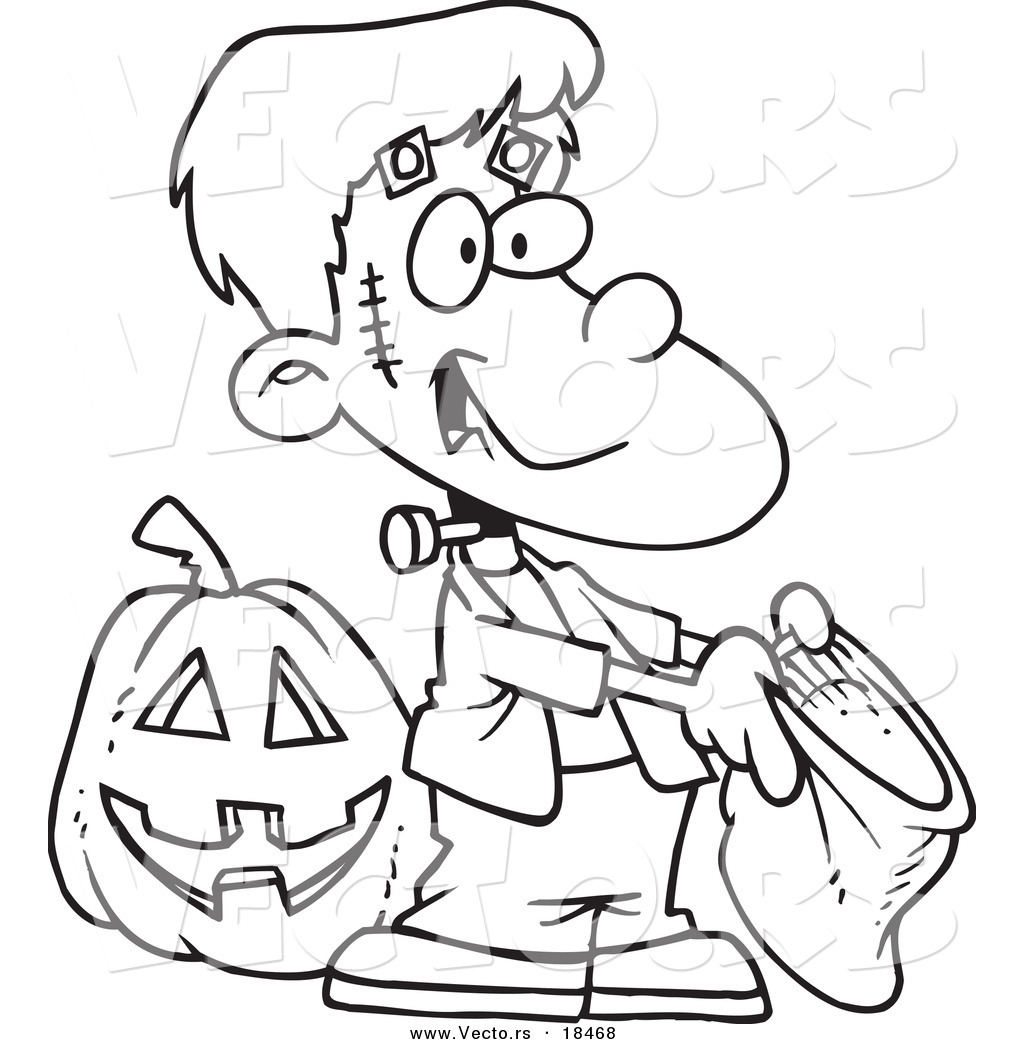 Vector Of A Cartoon Frankenstein Boy Trick Or Treating