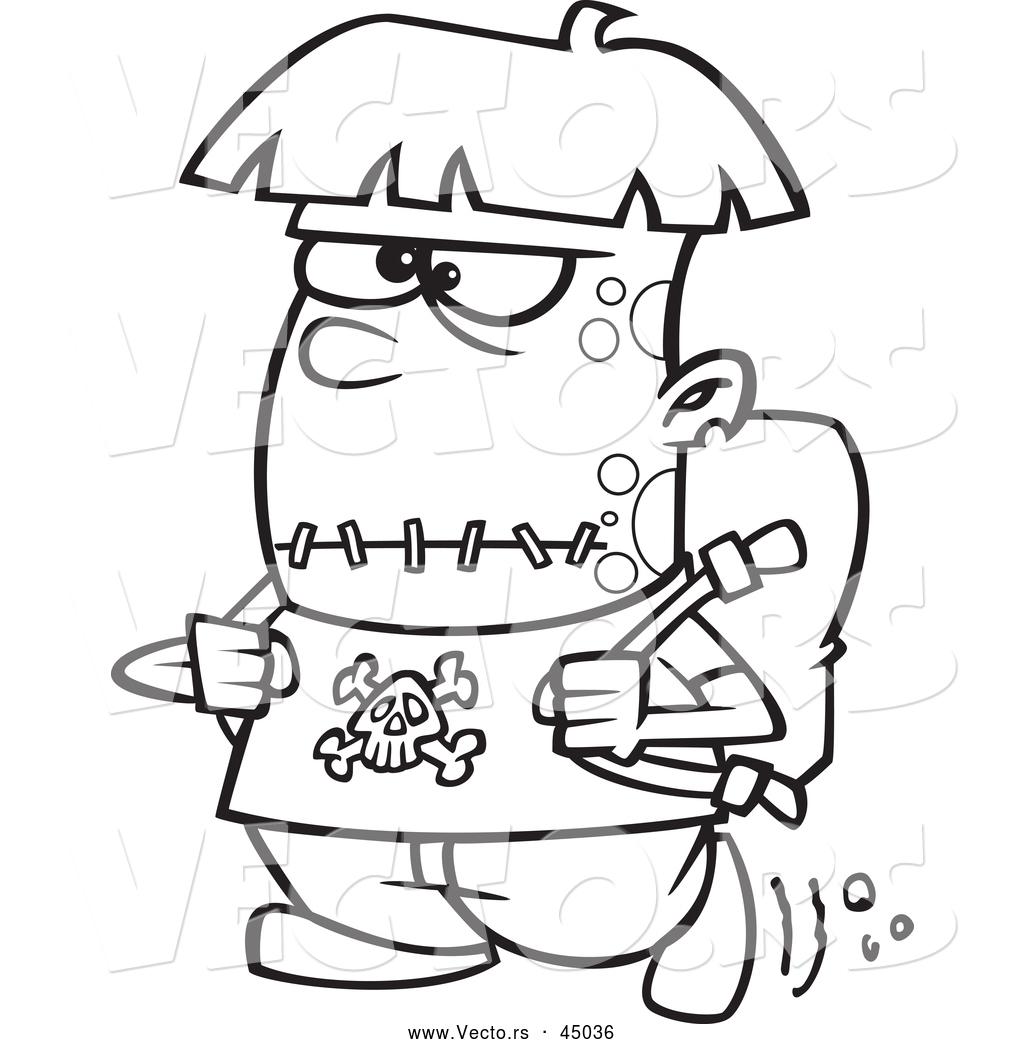 Vector Of A Cartoon Frankenstein Kid Walking To School On Halloween Day