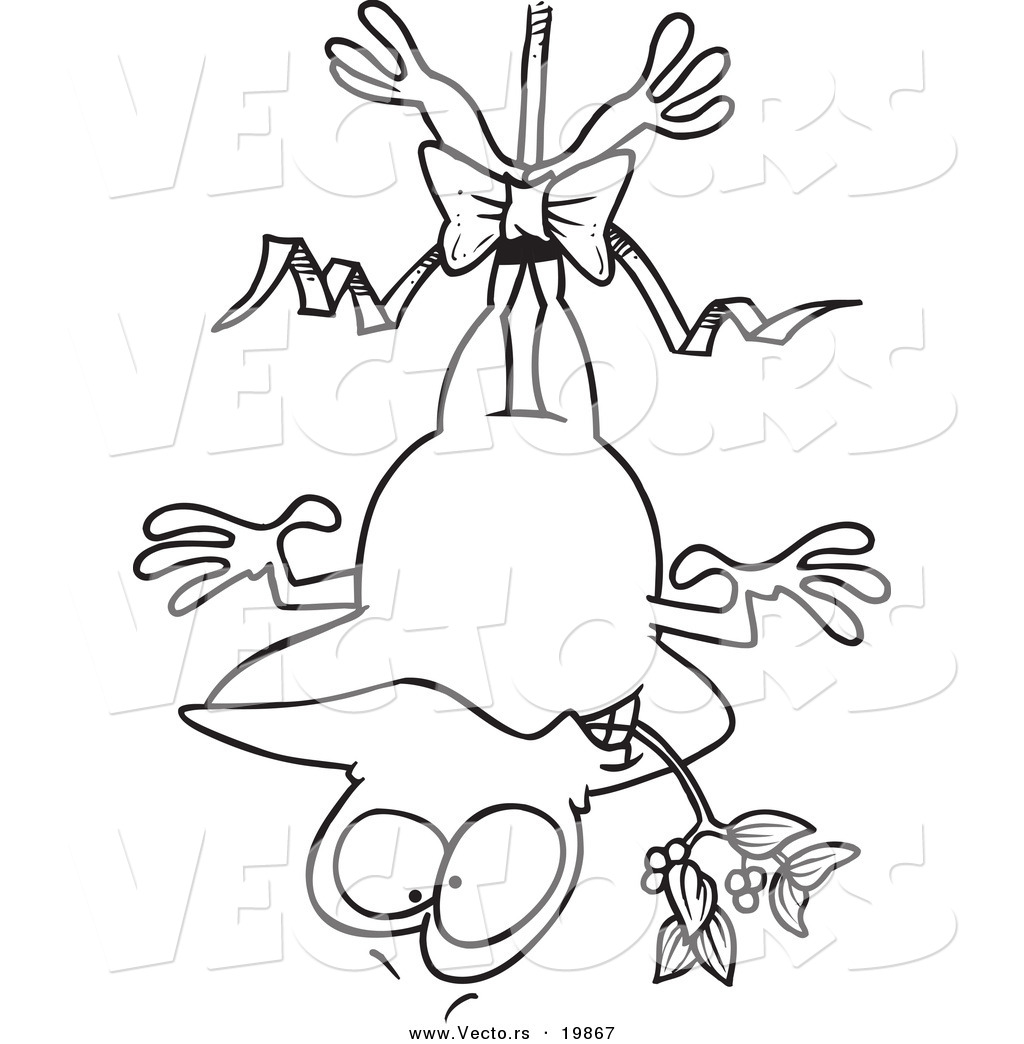 vector of a cartoon frog hanging upside down with mistletoe