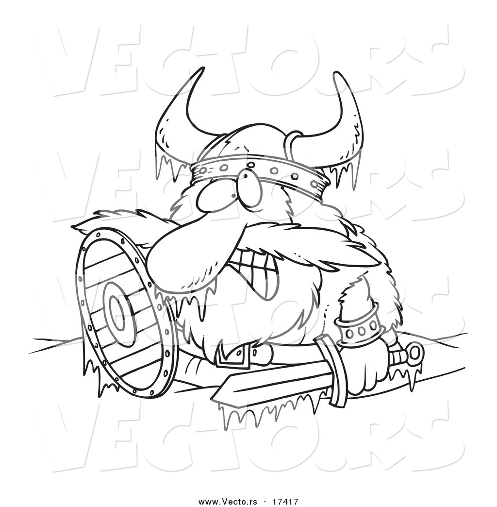 Vector Of A Cartoon Frozen Viking
