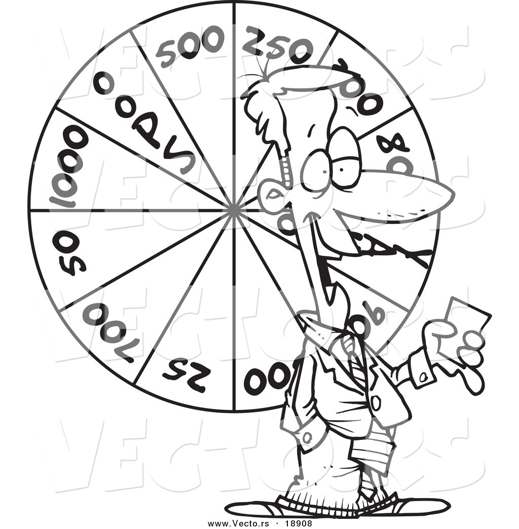 vector of a cartoon game show host with a wheel outlined coloring page