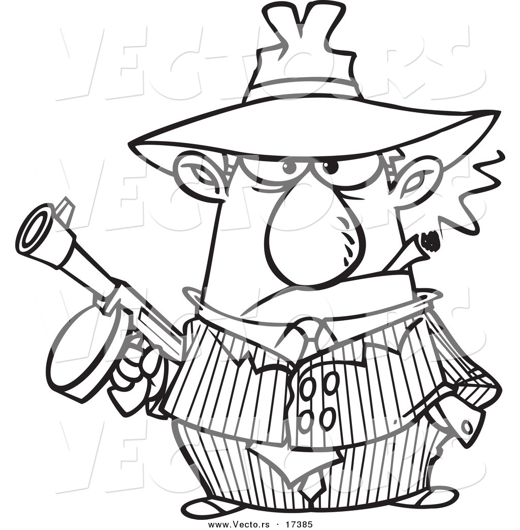 Vector of a Cartoon Gangster Holding a Gun and Smoking a Cigar - Coloring Page Outline