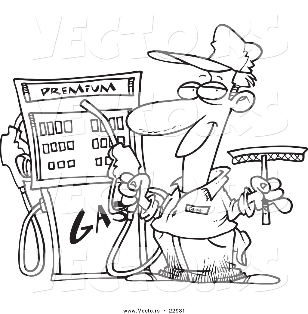 vector of a cartoon gas station attendant