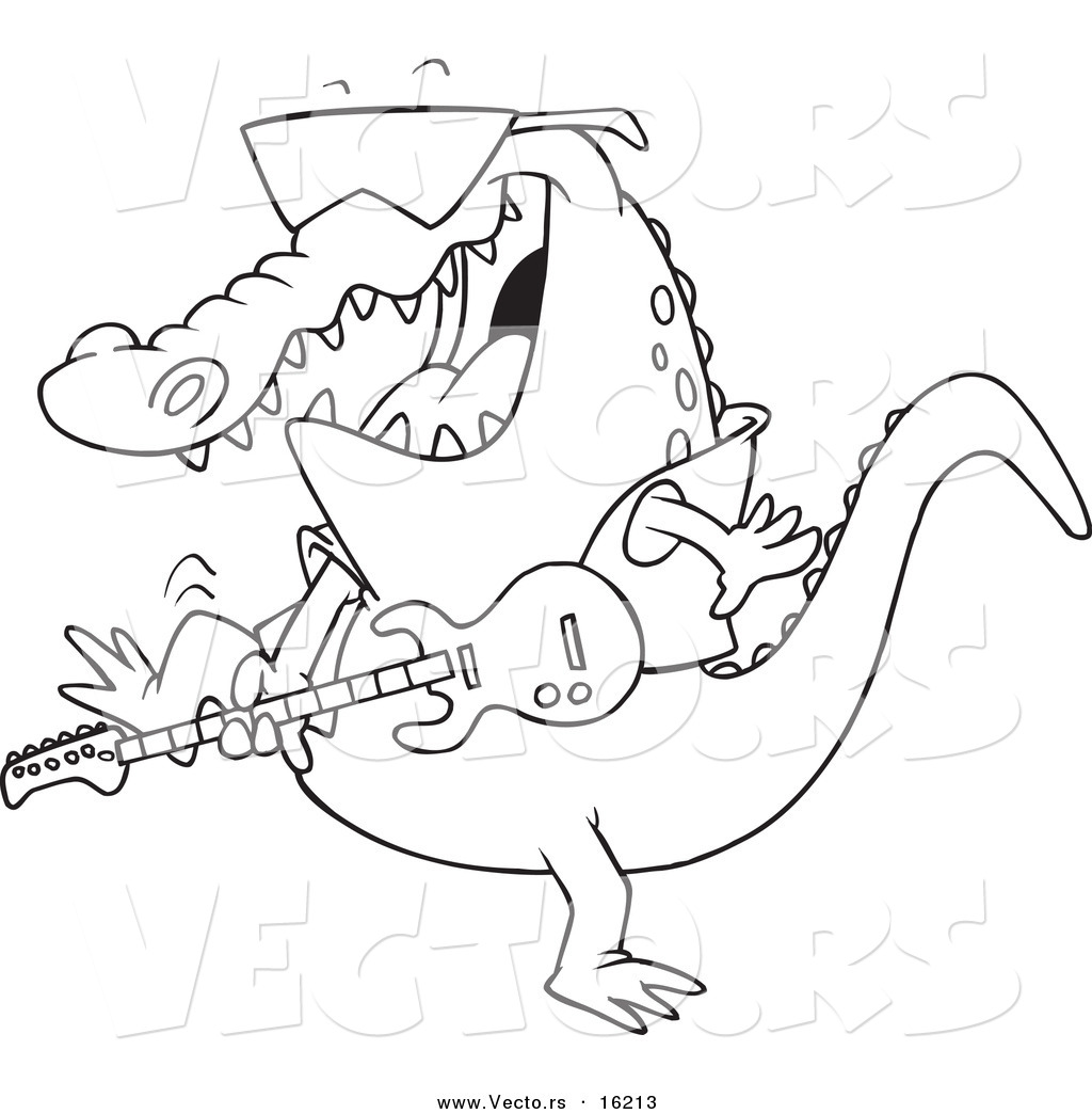 vector of a cartoon gator guitarist - outlined coloring page drawing by toonaday