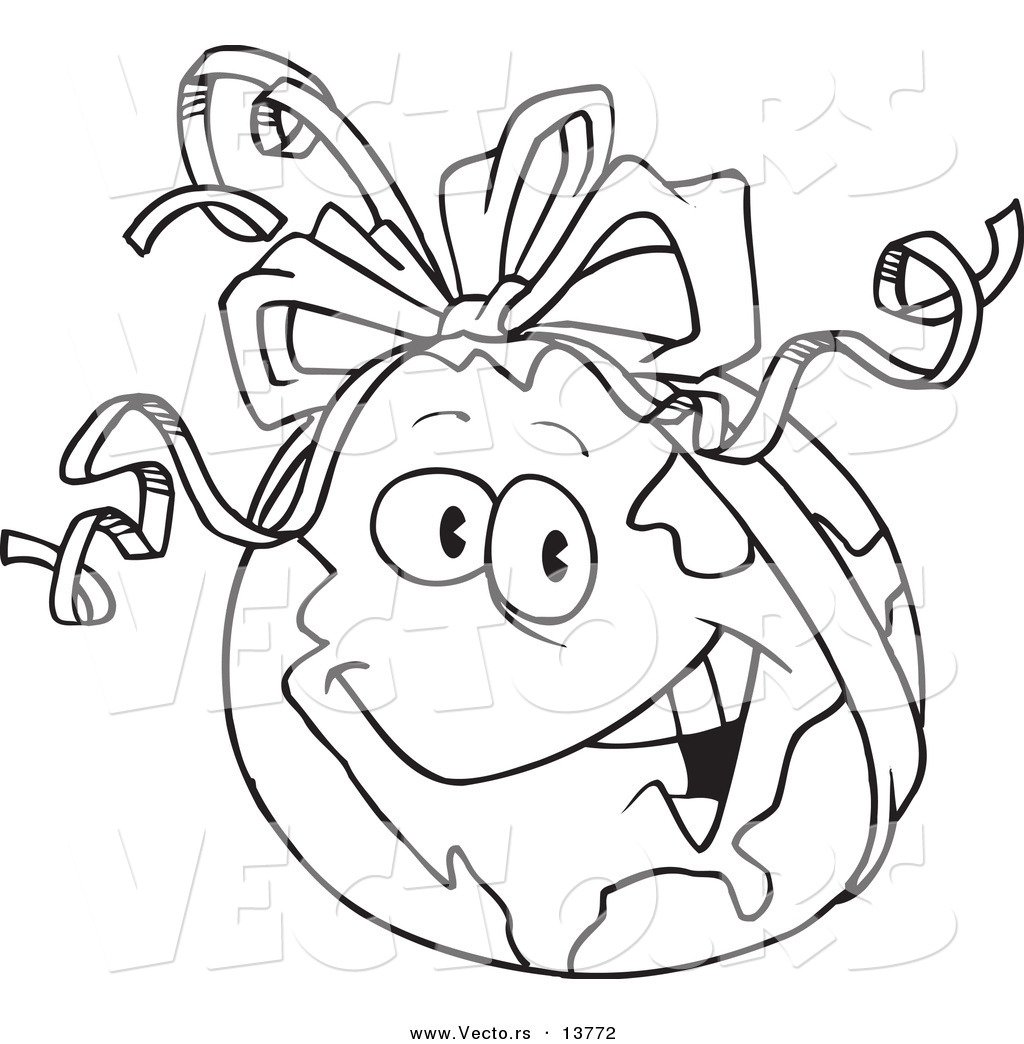 vector of a cartoon gift globe with a ribbon coloring page