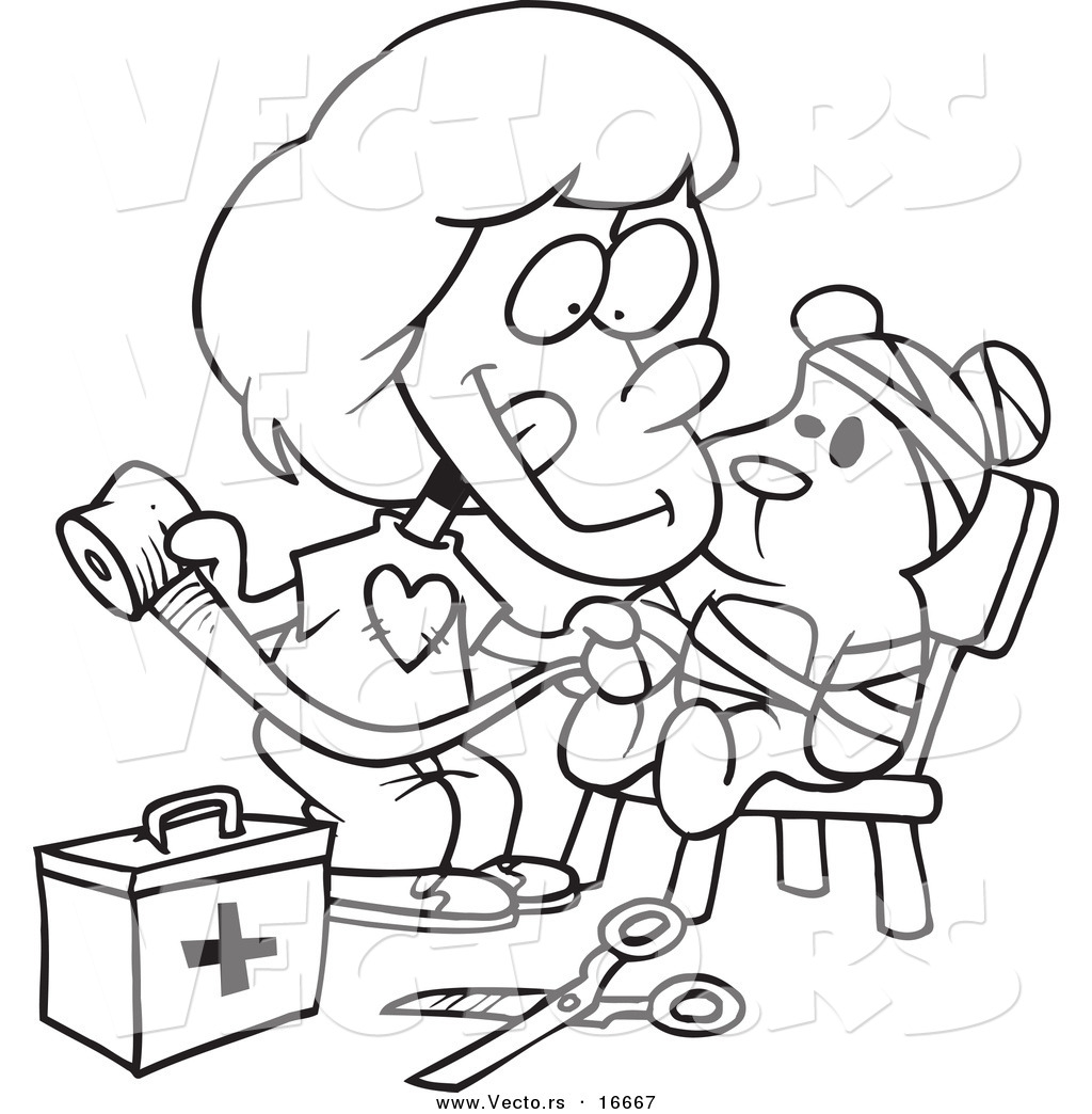 vector of a cartoon bandaging up her teddy bear outlined