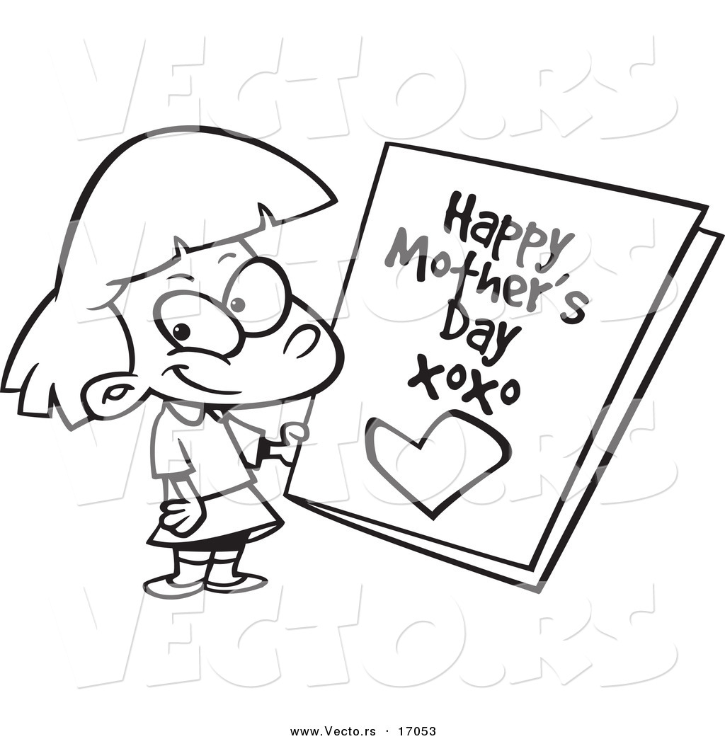 vector of a cartoon holding a mothers day card coloring
