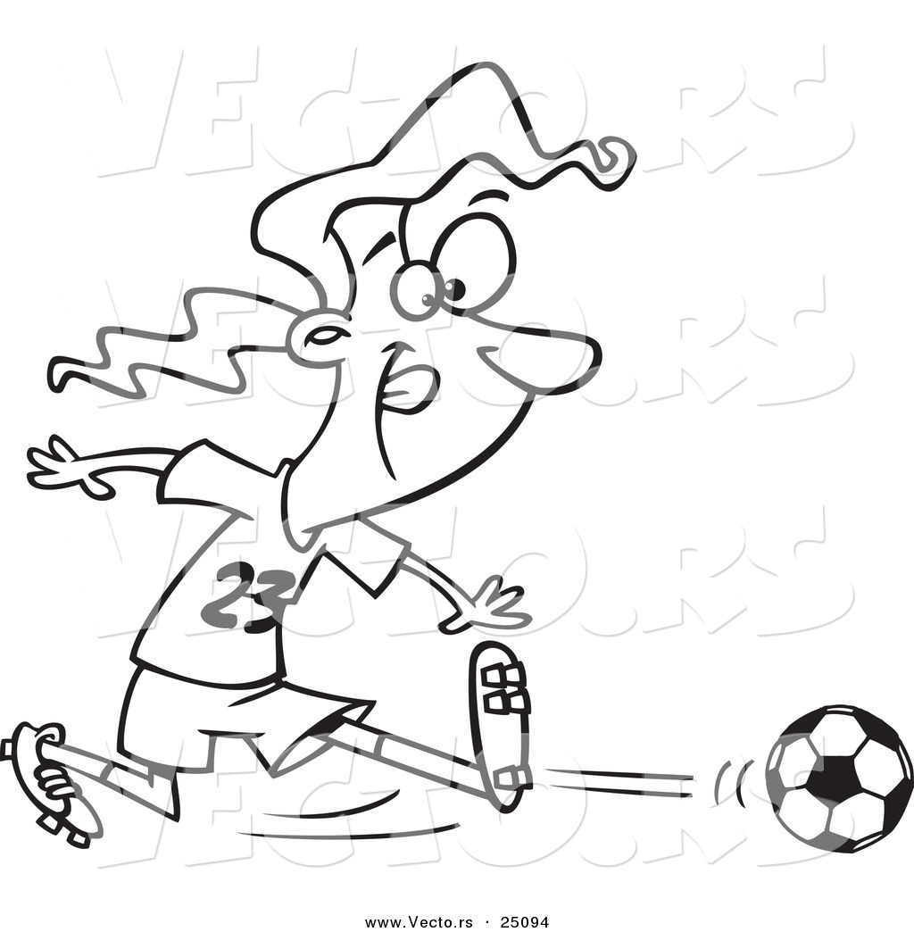 vector of a cartoon girl kicking a soccer ball outlined coloring page - Girl Soccer Player Coloring Pages