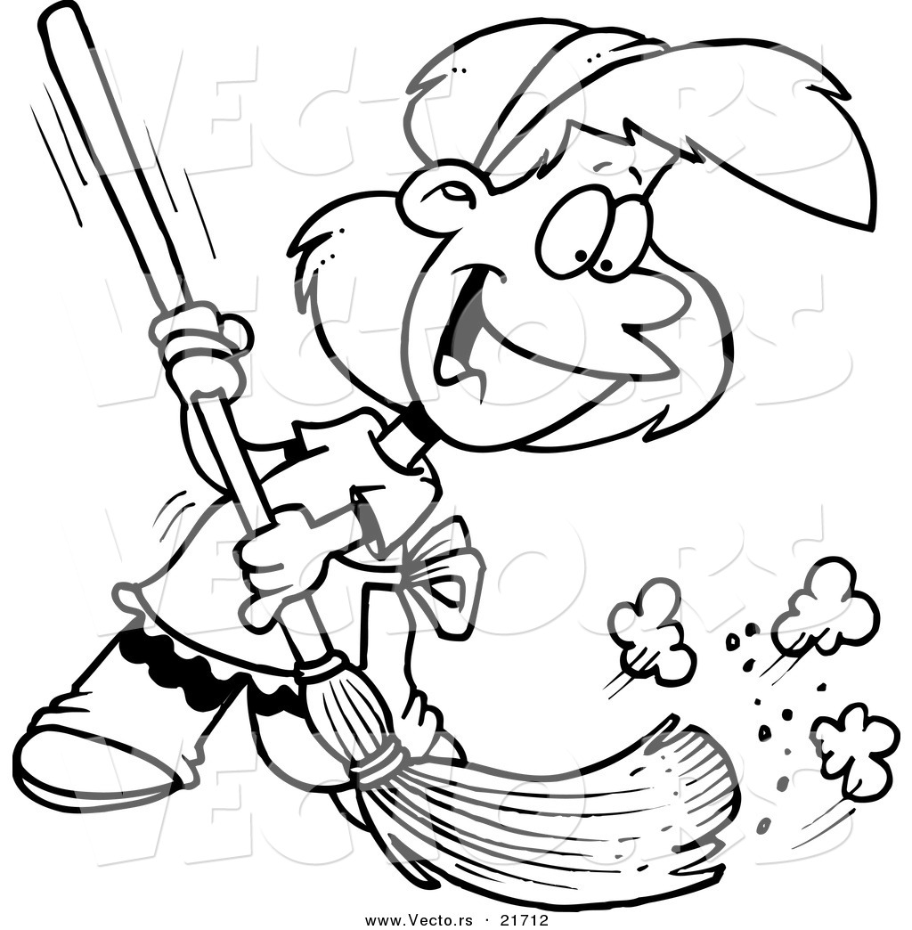 vector of a cartoon sweeping outlined coloring page by