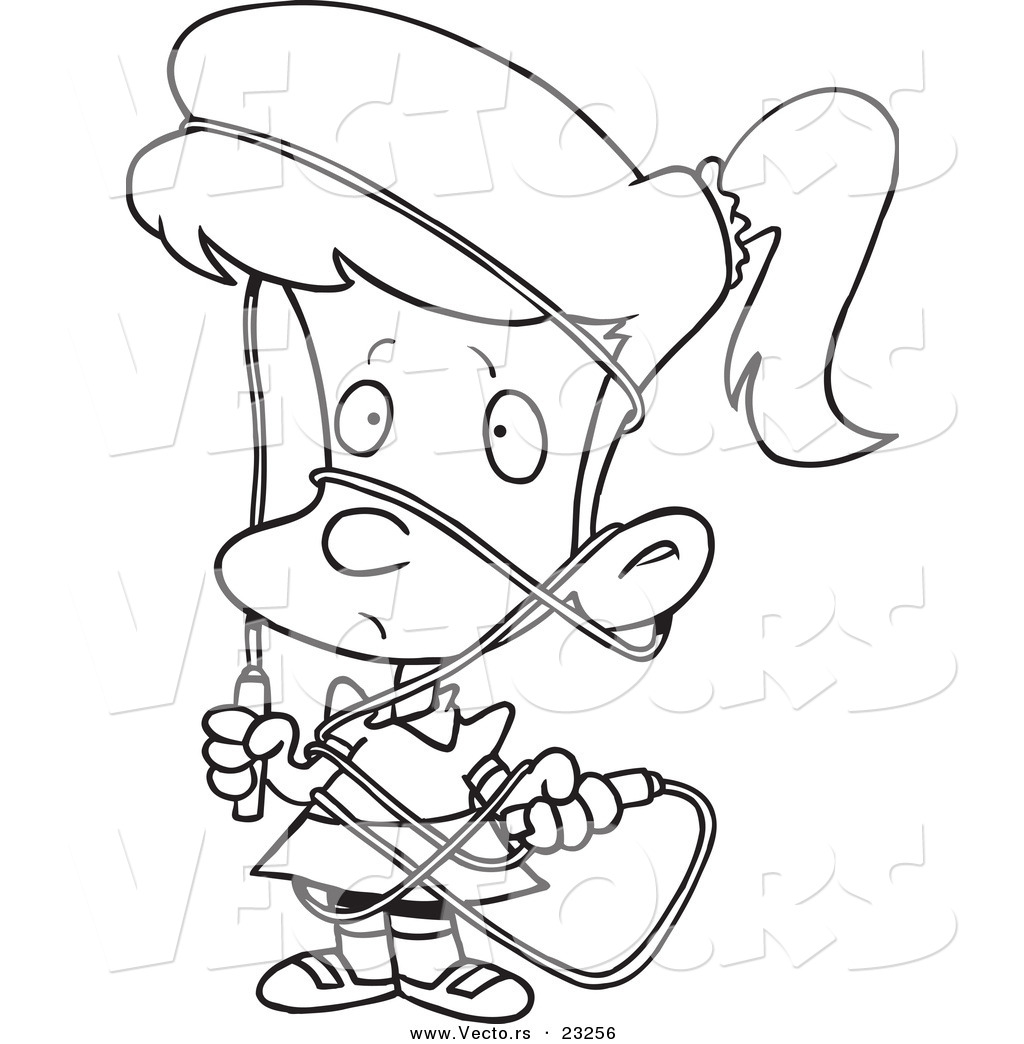 vector of a cartoon tangled in a jump coloring page