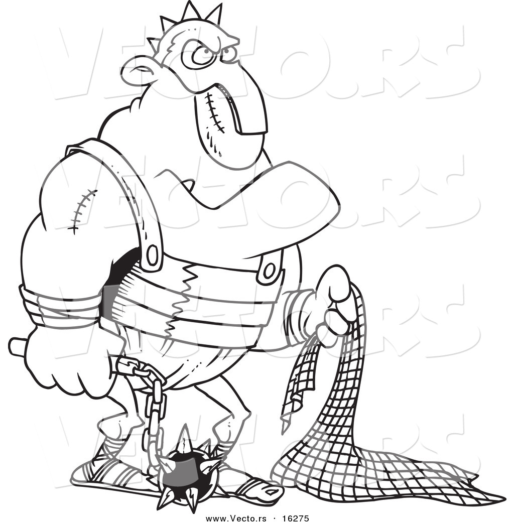 vector of a cartoon gladiator holding a net and flail outlined