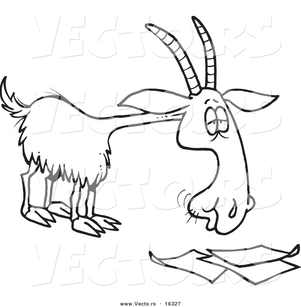 Vector of a Cartoon Goat Eating Paperwork - Outlined Coloring Page Drawing