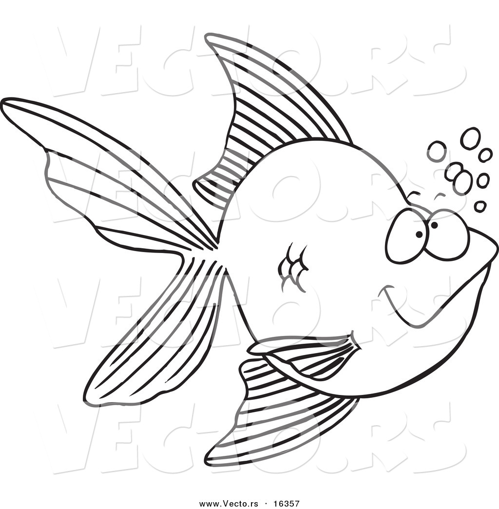 vector of a cartoon goldfish with bubbles outlined coloring page drawing